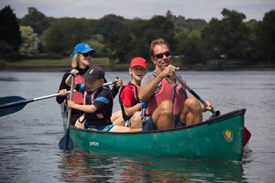 family paddling